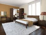 Ъглов гардероб със секция и огледална врата в кафяво, в комплект с двойно легло и други спални мебел